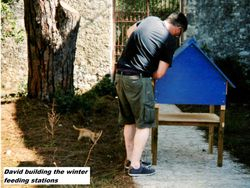 David assembling the feeding stations