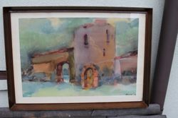 """Algirdo Luksto akvarele """"Kauno pilis"""". Kaina 210 Eur."""