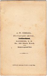 A. W. Kimball, photographer of Manchester, NH - back