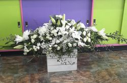 White Mixed Flowers Full Casket