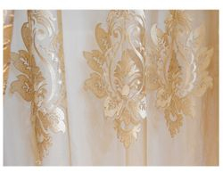 NEW      Damask Embroidered Rod Pocket Sheer Curtains
