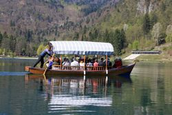 Boat on Lake Bled, Slovenia