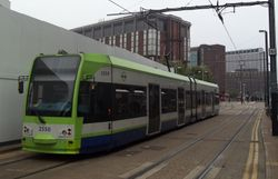 Tram #2550 on approach to East Croydon station.
