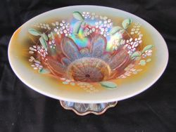"""Stippled Petal 8"""" domed footed enameled flared bowl, peach opal"""
