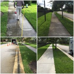 Pressure Cleaning Sidewalk and Street Gutter