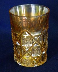 Checkerboard marigold tumbler, by L.G.Wright