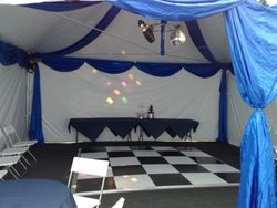 Blue Drapes in a 6x6 with 3x3 black and white dance floor