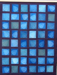 Cyanotype leaves on canvas