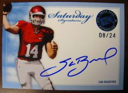 SAM BRADFORD RC BLUE SATURDAY SIGNATURES 2010 ROOKIE PRESS PASS LEGENDS #8/24