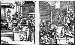 Cranach, Pope as Antichrist vs. True Christ, 1520-21