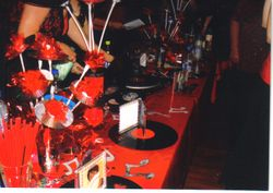 Black and Red table decorations for One-Liners