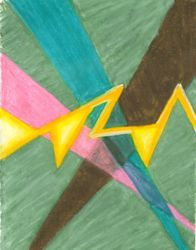 Searchlights Along A Jagged Path, Oil Pastel, 11x14, Original Sold
