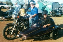 Barb going for a spin in Tom's Sidecar Gladstone Odyssey - Jun 2001