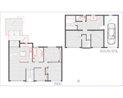 Plan 2D d'un bungalow à palier multiple