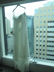 Chloe's dress in sky city grande's window