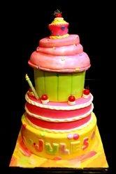 Giant cupcake theme 1st birthday cake