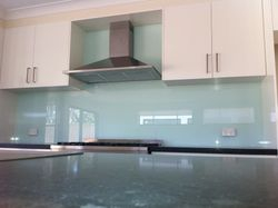 The glass panels provide a modern look. .