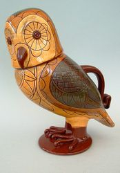 "3 Tone Lidded Owl Jug 10"" tall"