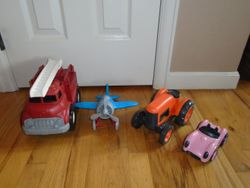 Green Toys Fire Engine, Tractor, Airplane & Roadster - $30