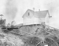 Fog alarm building at the Discovery Island light station in 1892.
