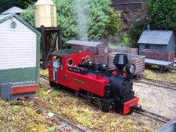 'Foxtrotter' drifts down through the platform road after raising steam at the loco shed.