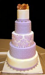 Lilac and ivory wedding cake