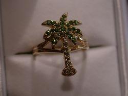 Custom Green Diamond Palm Tree Ring