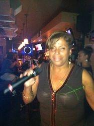 Mara bringing it to the crowd at 502 Bar Lounge's Social Saturday Night Karaoke!