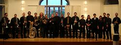 Dr. Hedwig (Center) with Brooklyn College Brass Ensemble and Karlsruhe Conservatory Brass Ensemble, Germany
