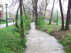 Jordan River April  overflowing