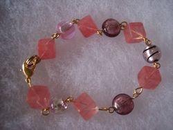 Cherry quartz and foil lined bead bracelet