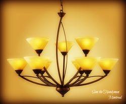 Designer's chandelier installation
