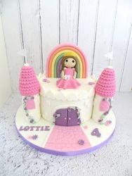 Princess and Rainbow Castle Cake