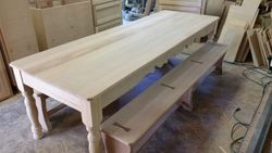 distressed table and benches