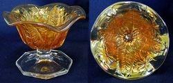 Leaf and Little Flowers ruffled compote, marigold radium