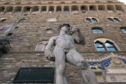 Michelangelo's David Guards the Palazzo Vecchio, the town hall of Florence