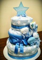 Baby Boy Blue Diaper Cake