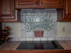 Handpainted design on tile