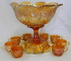 Many Fruits punch set, ruffled base, marigold