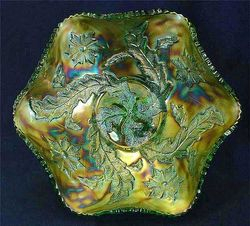 Whirling Leaves ruffled bowl - green