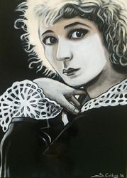 """Mary Pickford"",""Film actress"", ""Hollywood Actress"",,""Best Actress"", ""America's Sweetheart"", ""United Artists"", ""Producer"", ""Writer"", ""Actress"", ""Director"",acrylic on canvas, by Fin Collins, part of The Film Icons Collection www.filmiconsgallery.com"