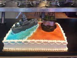 Wedding cake with Battleship & Halo Helmet