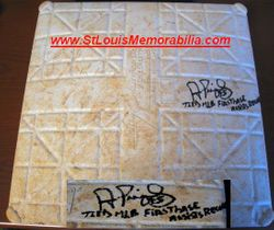 """Albert Pujols Signed """"Tied MLB First Base Assists Record"""" 9/3/2009 Actual Game Used Base Pujols Foundation COA"""