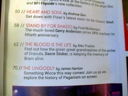 Detail of Subsection of Table of Contents with Features on The Blood is the Life in Starburst Magazine #475: The Mandalorian Collectors¿ Edition at The Wombatorium 2.0: A Capital Idea