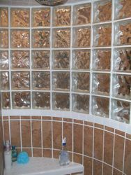 Curved Glass Block Shower inside view with seat