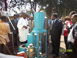 The Rector also admires the ndole machine in action