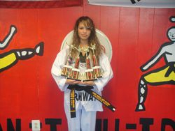 Natalie  Nodarse  1st pl Forms  2 nd pl breaking  2 nd  pl  weapons  2 pl fighting  at the President's Cup Championship 08-14-2011