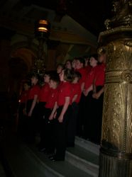 Singing on the steps in the rotunda