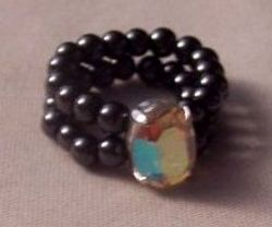 Hematite ring with crystal stone