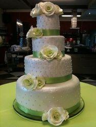 Apple Green & White Wedding Cake